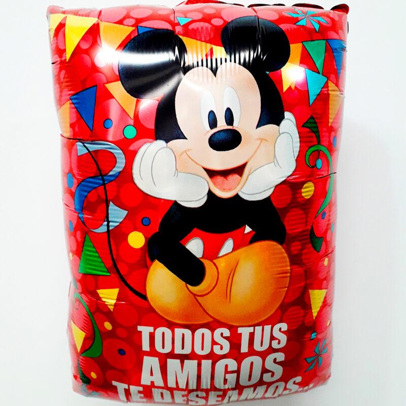 Globo Metalico Mickey Mouse Todos Tus Amigos Te Deseamos Diversion... de Cumpleaños, 18 Pulgadas en Forma Rectangular, Marca Anagram