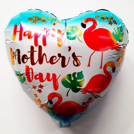 Globo Metalico Happy Mothers Day Flamingos, 18 Pulgadas en Forma de Corazon, Marca Anagram