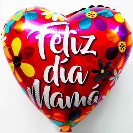 Globo Metalico Feliz Dia Mama Primaveral,18 Pulgadas en Forma de Corazon, Marca Kaleidoscope