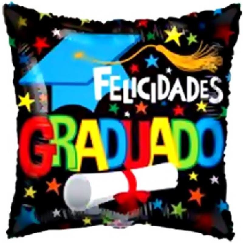 Globo Metalico Felicidades Graduado Estrellas y Birrete de Graduacion, 18 Pulgadas en Forma de Cuadrado, Marca Kaleidoscope