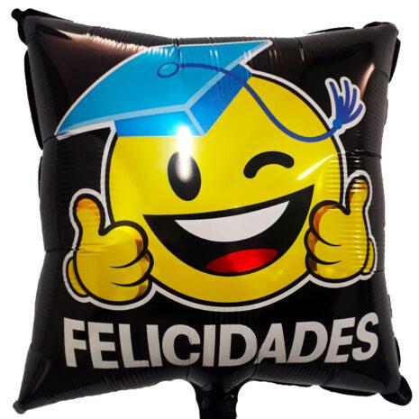 Globo Metalico Felicidades Emoji Graduado Guiño de Graduacion, 18 Pulgadas en Forma de Cuadrado, Marca Kaleidoscope