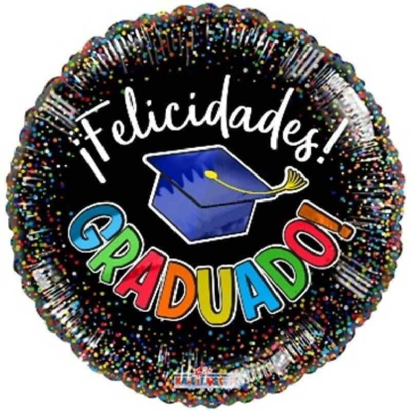 Globo Metalico Felicidades Graduado Magia Disco de Graduacion, 18 Pulgadas en Forma de Circular, Marca Kaleidoscope
