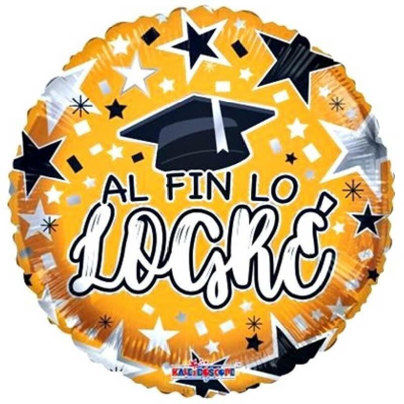 Globo Metalico Al Fin Lo Logre Magia Dorada y Estrellas de Graduacion, 18 Pulgadas en Forma de Circular, Marca Kaleidoscope
