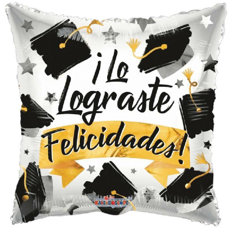 Globo Metalico Lo Lograste Felicidades Birretes de Graduacion, 18 Pulgadas en Forma de Cuadrado, Marca Kaleidoscope