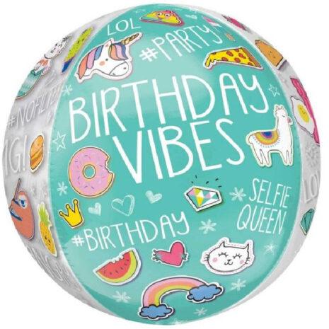 Globo Metalico Orbz Birthday Vibes LOL Emojis de Cumpleaños, 15 Pulgadas en Forma Circular, Marca Anagram