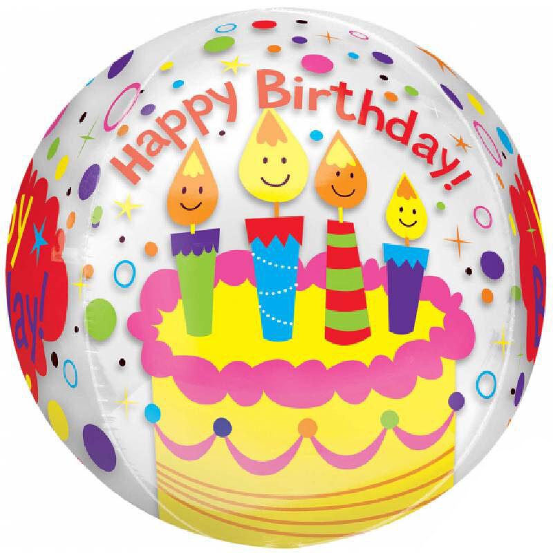 Globo Metalico Orbz Happy Birthday Pastel y Velas de Cumpleaños, 15 Pulgadas en Forma Circular, Marca Anagram