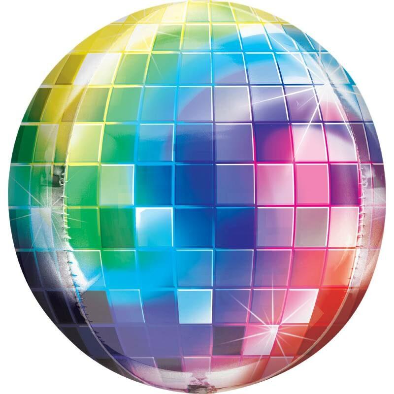 Globo Metalico Orbz Bola de Disco de Cumpleaños, 15 Pulgadas en Forma Circular, Marca Anagram