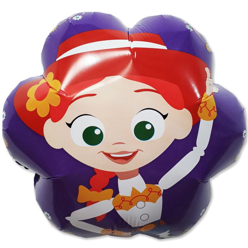 Globo Metalico Toy Story Jessy La Vaquerita Sonriendo de Cumpleaños, 18 Pulgadas en Forma de Flor, Acabado Gellibean, Marca Anagram