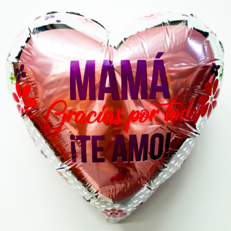 Globo Metalico Mama Gracias por Todo Te Amo,18 Pulgadas en Forma de Corazon, Marca Kaleidoscope