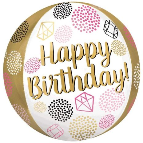 Globo Metalico Orbz Happy Birthday Formas y Colores Oro de Cumpleaños, 15 Pulgadas en Forma Circular, Marca Anagram