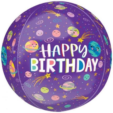 Globo Metalico Orbz Happy Birthday Galaxia Animada de Cumpleaños, 15 Pulgadas en Forma Circular, Marca Anagram