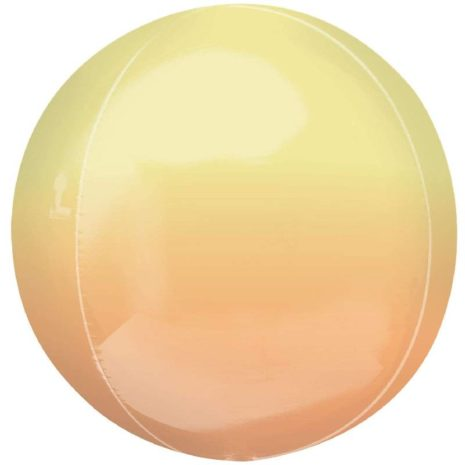 Globo Metalico Orbz Amarillo Naranja de Cumpleaños, 15 Pulgadas en Forma Circular, Marca Anagram