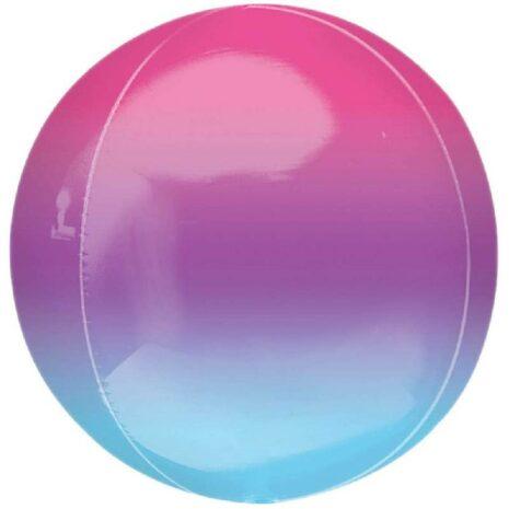 Globo Metalico Orbz Azul Morado de Cumpleaños, 15 Pulgadas en Forma Circular, Marca Anagram