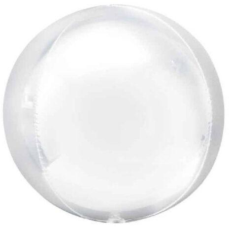 Globo Metalico Orbz Blanca de Cumpleaños, 15 Pulgadas en Forma Circular, Marca Anagram