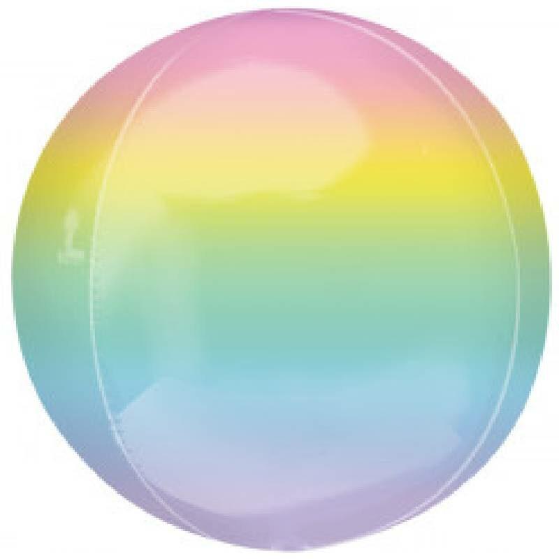 Globo Metalico Orbz Marmoleada Colores Pastel de Cumpleaños, 15 Pulgadas en Forma Circular, Marca Anagram