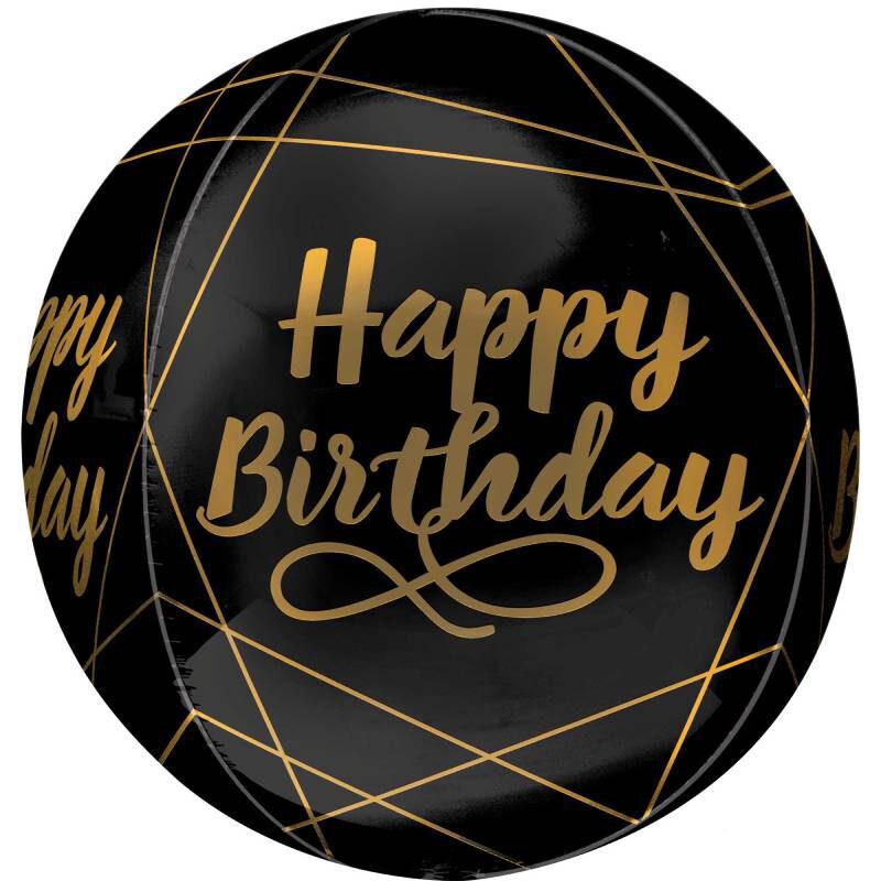 Globo Metalico Orbz Happy Birthday Entre Lineas Doradas de Cumpleaños, 15 Pulgadas en Forma Circular, Marca Anagram