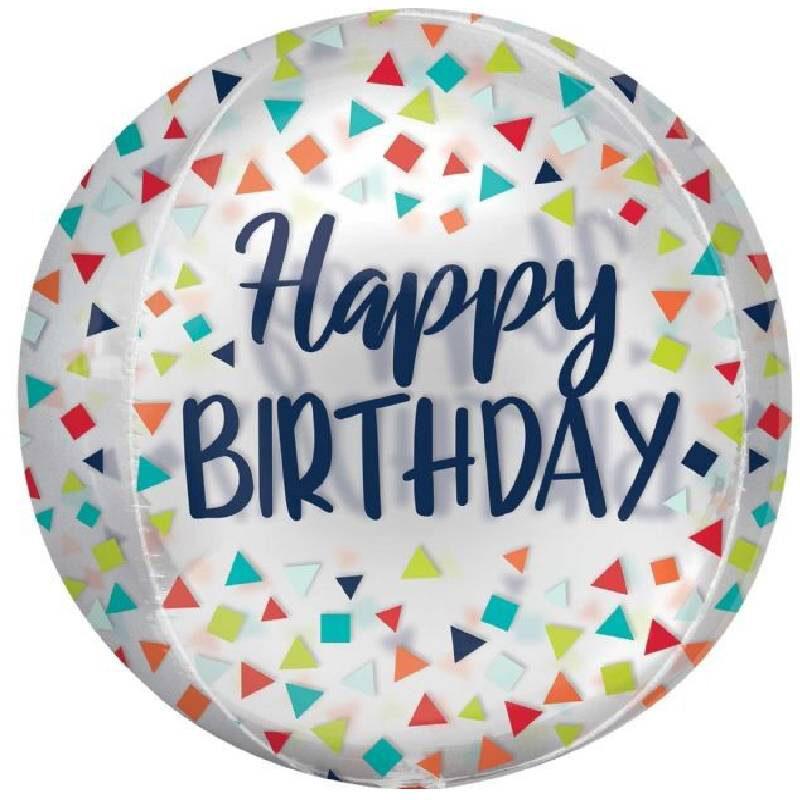 Globo Metalico Orbz Happy Birthday Lluvia de Confetti de Cumpleaños, 15 Pulgadas en Forma Circular, Marca Anagram