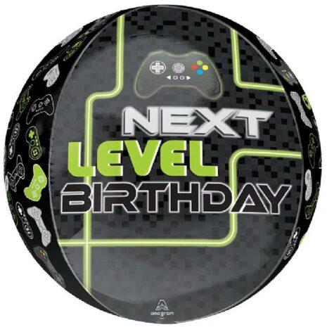 Globo Metalico Orbz Next Level Birthday Video Juego Control de Cumpleaños, 15 Pulgadas en Forma Circular, Marca Anagram