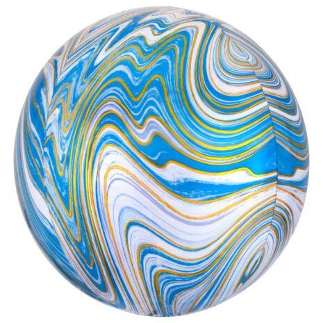 Globo Metalico Orbz Marmoleada Azul de Cumpleaños, 15 Pulgadas en Forma Circular, Marca Anagram