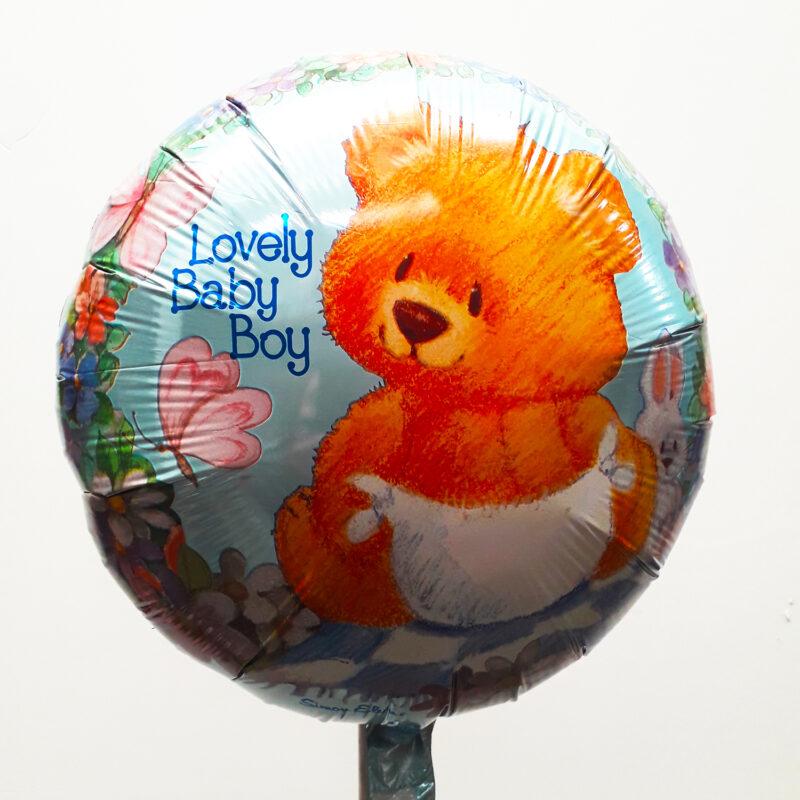 Globo Metalico Lovely Baby Boy Osito Primavera de Baby Shower, 18 Pulgadas en Forma Circular, Marca Anagram