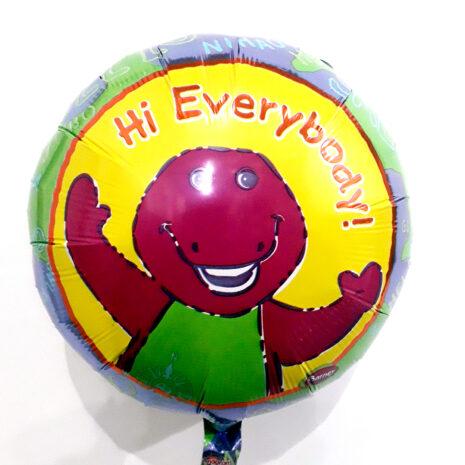 Globo Metalico Hi Every Body Barney Sonriendo de Cumpleaños, 18 Pulgadas en Forma Circular, Marca Anagram