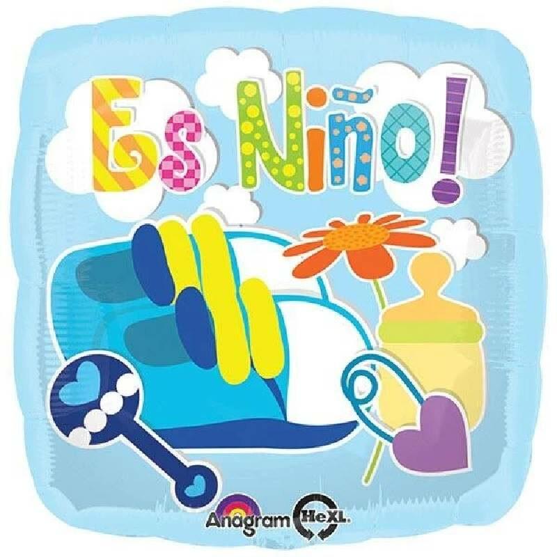 Globo Metalico Bebe Animado con Chupon de Baby Shower, 18 Pulgadas en Forma Circular, Acabado Gellibeans Marca Kaleidoscope