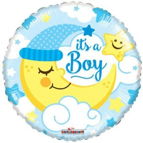 Globo Metalico Its A Boy Luna Durmiendo de Baby Shower, 18 Pulgadas en Forma Circular, Marca Kaleidoscope