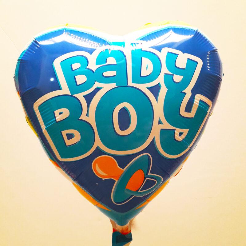 Globo Metalico Baby Boy Chupon de Baby Shower, 18 Pulgadas en Forma de Corazon, Marca Kaleidoscope