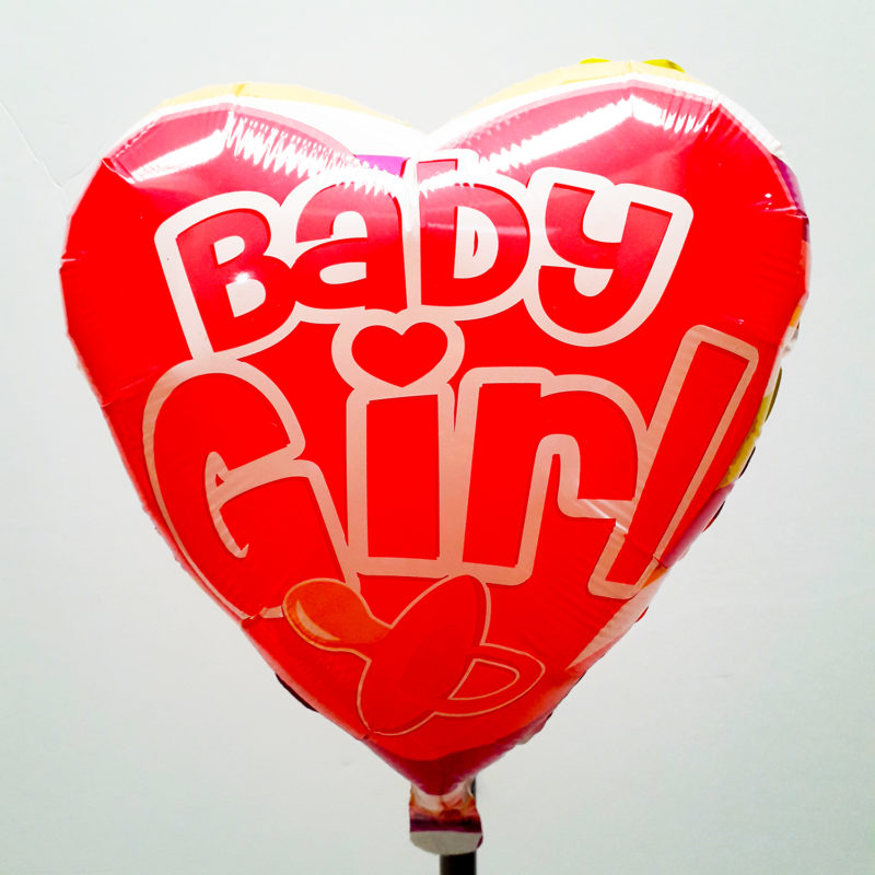 Globo Metalico Baby Girl Chupon de Baby Shower, 18 Pulgadas en Forma de Corazon, Acabado Gellibeans, Marca Kaleidoscope