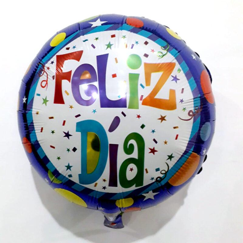 Globo Metalico Feliz Dia Estrellas y Formas de Colores de Cumpleaños, 18 Pulgadas en Forma Circular, Marca Kaleidoscope
