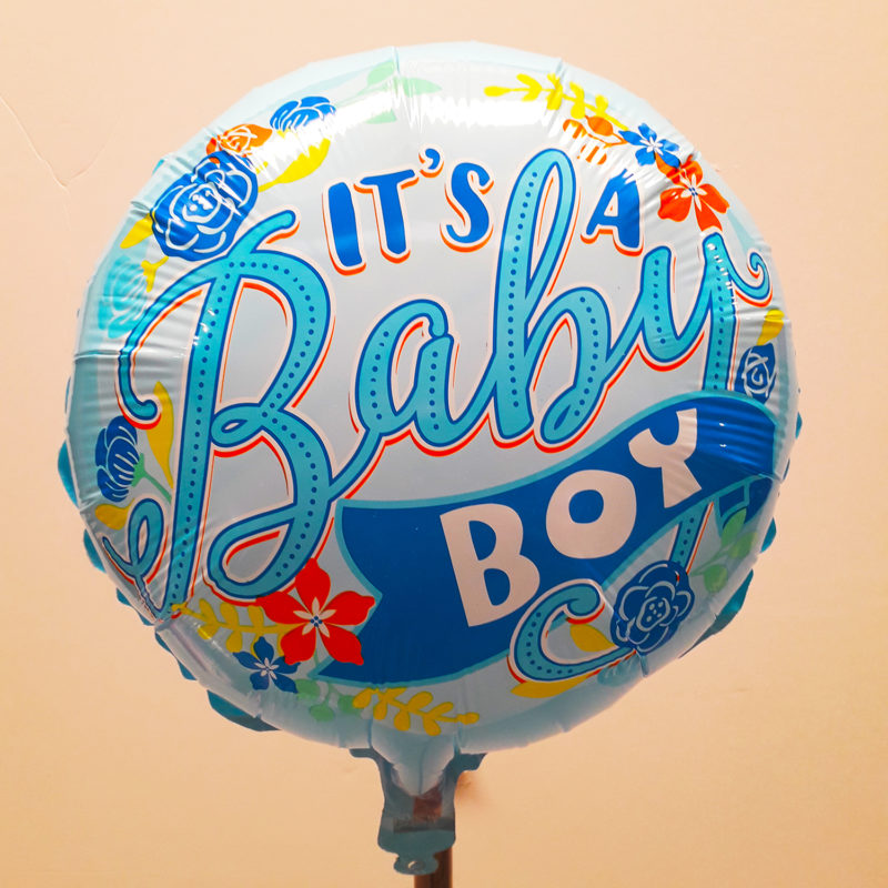 Globo Metalico Its A Baby Boy Magia Floral de Baby Shower, 18 Pulgadas en Forma Circular, Acabado Gellibeans, Marca Kaleidoscope