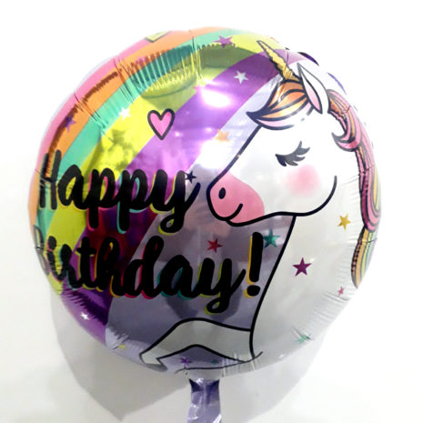 Globo Metalico Happy Birthday Unicornio Magia Arcoiris de Cumpleaños, 18 Pulgadas en Forma Circular, Marca Kaleidoscope