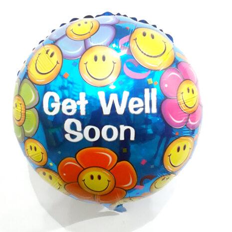Globo Metalico Get Well Soon Fiesta Emojis de Aliviate Pronto, 18 Pulgadas en Forma Circular, Marca Kaleidoscope