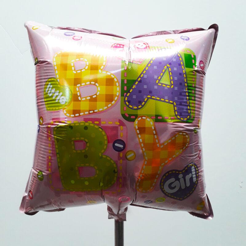 Globo Metalico Baby Girl Magia Rosa de Baby Shower, 18 Pulgadas en Forma de Cuadrado, Marca Kaleidoscope