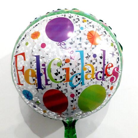 Globo Metalico Felicidades Magia Verde de Cumpleaños, 18 Pulgadas en Forma Circular, Marca Kaleidoscope