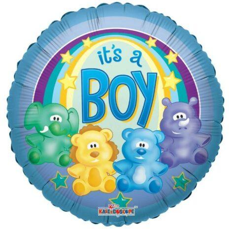 Globo Metalico Its A Boy Safari Bebe de Baby Shower, 18 Pulgadas en Forma Circular, Marca Kaleidoscope