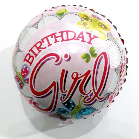Globo Metalico Birthday Girl Magia Mariposas de Cumpleaños, 18 Pulgadas en Forma Circular, Marca Kaleidoscope