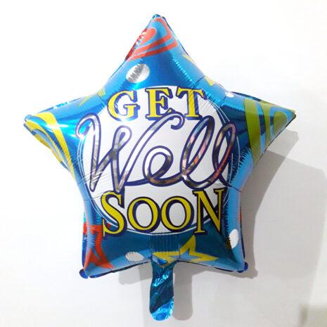 Globo Metalico Get Well Soon Estrellas de Aliviate Pronto, 18 Pulgadas en Forma de Estrella, Marca Kaleidoscope