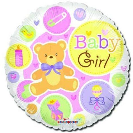 Globo Metalico Baby Girl Osito Cubos y Sonajas de Baby Shower, 18 Pulgadas en Forma Circular, Acabado Gellibeans, Marca Kaleidoscope