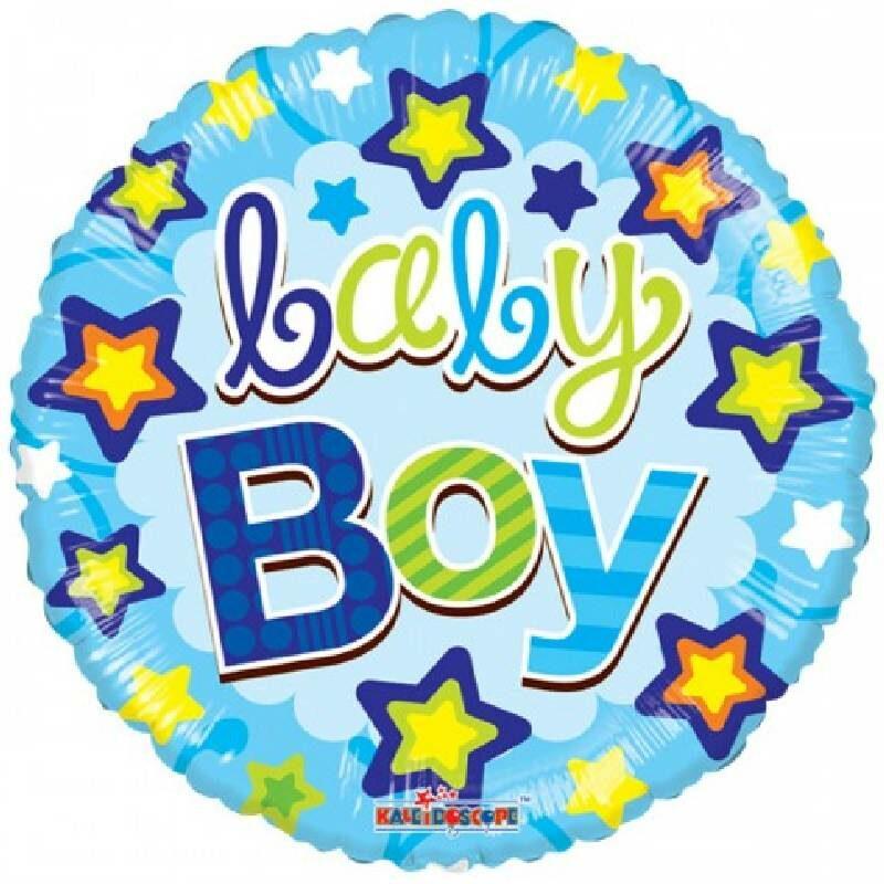 Globo Metalico Baby Boy Lluvia Magica de Estrellas Baby Shower, 18 Pulgadas en Forma Circular, Acabado Gellibeans, Marca Kaleidoscope