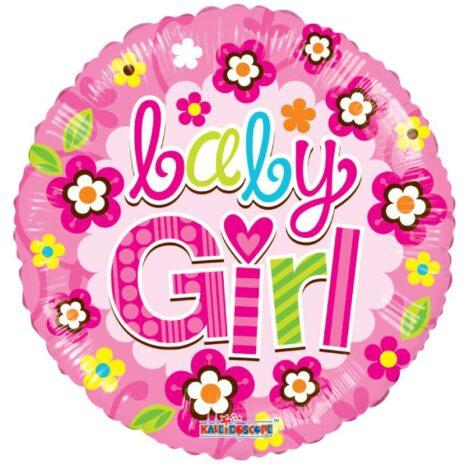 Globo Metalico Baby Girl Magica Primavera de Baby Shower, 18 Pulgadas en Forma Circular, Acabado Gellibeans, Marca Kaleidoscope