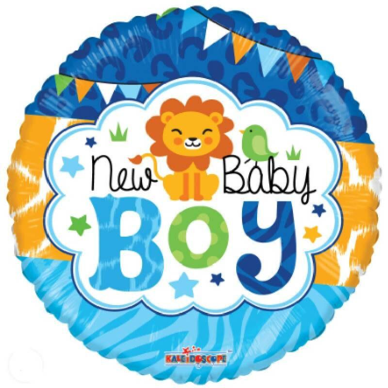 Globo Metalico New Baby Boy Safari Party de Baby Shower, 18 Pulgadas en Forma Circular, Acabado Gellibeans, Marca Kaleidoscope