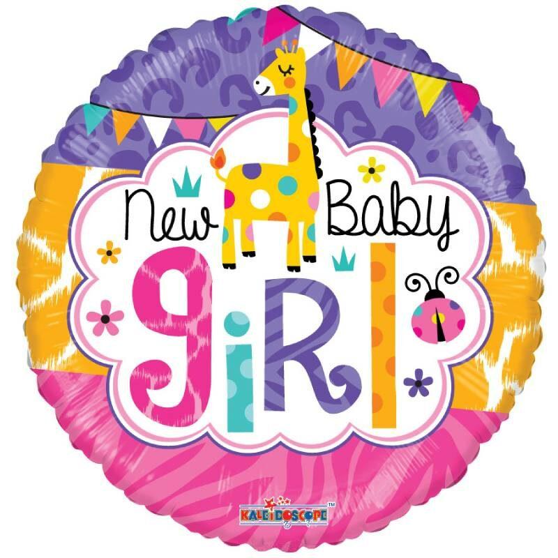 Globo Metalico New Baby Girl Fiesta Safari Jirafa de Baby Shower, 18 Pulgadas en Forma Circular, Acabado Gellibeans, Marca Kaleidoscope