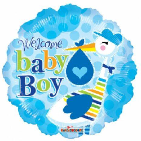 Globo Metalico Welcome Baby Boy Cigueña de Baby Shower, 18 Pulgadas en Forma Circular, Marca Kaleidoscope