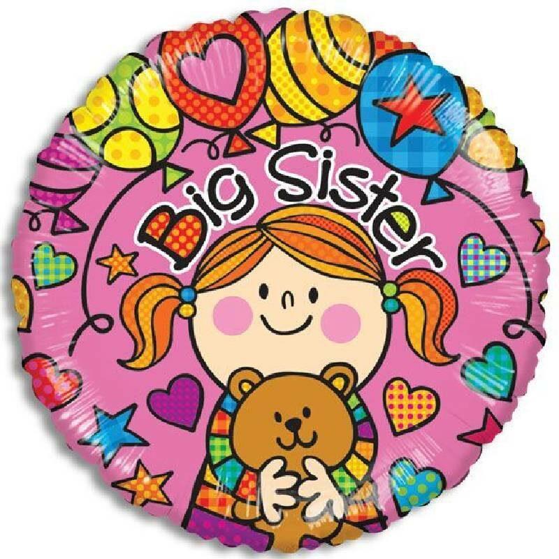 Globo Metalico Big Sister Fiesta Pop de Baby Shower, 18 Pulgadas en Forma Circular, Marca Kaleidoscope