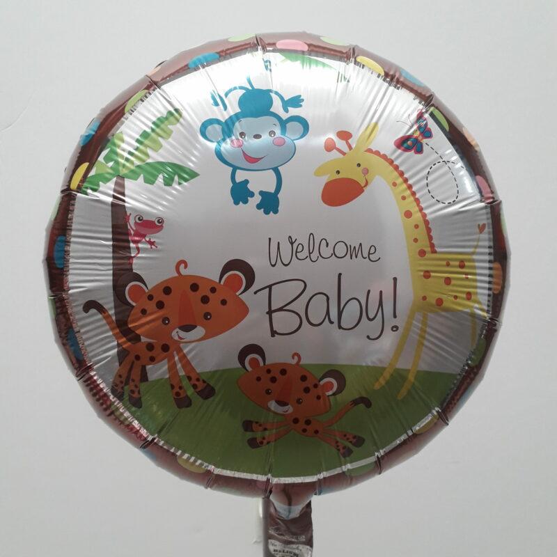 Globo Metalico Welcome Baby Safari Bebe de Baby Shower, 18 Pulgadas en Forma Circular, Marca Anagram