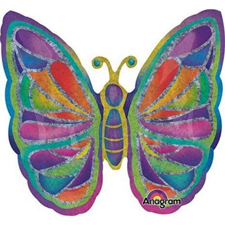 Globo Metalico Mariposa Multicolor de Primavera & Verano, 36 Pulgadas en Forma de Mariposa, Acabado Holografico, Marca Anagram