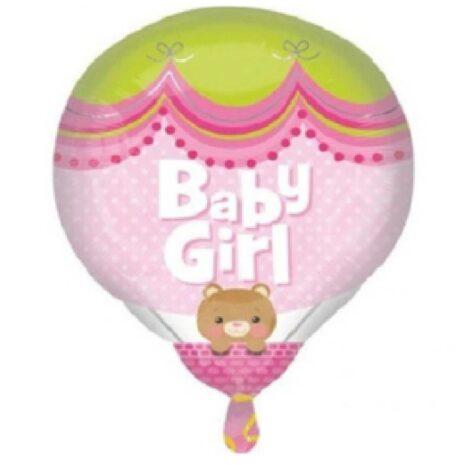 Globo Metalico Baby Girl Osita Sonriendo de Baby Shower, 18 Pulgadas en Forma de Globo Aerostatico, Marca Anagram
