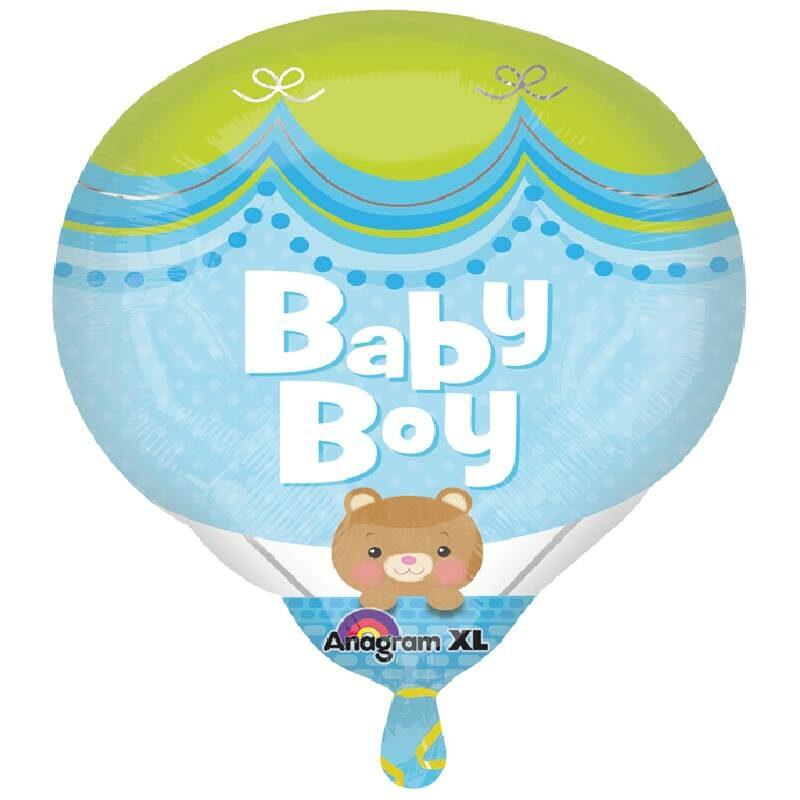 Globo Metalico Baby Boy Osito Sonriendo de Baby Shower, 18 Pulgadas en Forma de Globo Aerostatico, Marca Angram