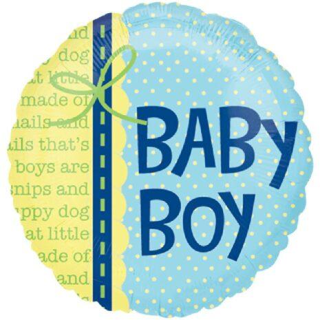 Globo Metalico Baby Boy Toallitas Humedas de Baby Shower, 18 Pulgadas en Forma Circular